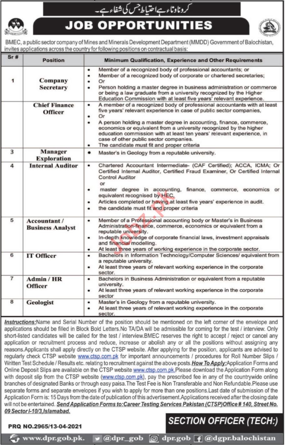 Balochistan Mineral Exploration Company BMEC Jobs 2021
