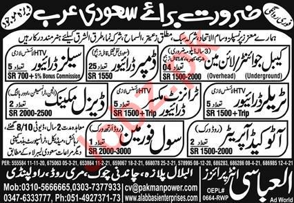 Cable Jointer & Trailer Driver Jobs 2021 in Saudi Arabia