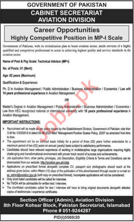 Aviation Division Cabinet Secretariat Islamabad Jobs 2021