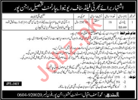 Revenue Department Rajanpur Jobs 2021 for Patwari