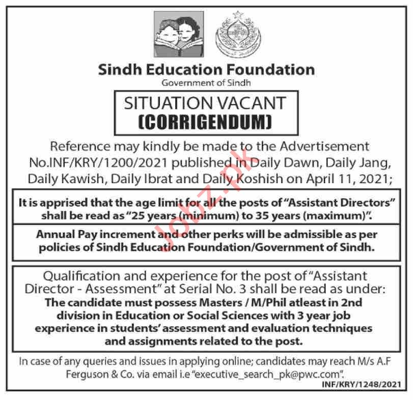 Sindh Education Foundation SEF Jobs for Assistant Directors