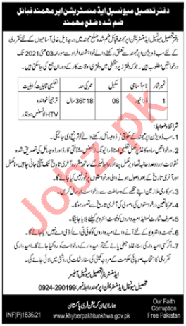 Tehsil Municipal Administration TMA Upper Mohmand Jobs 2021