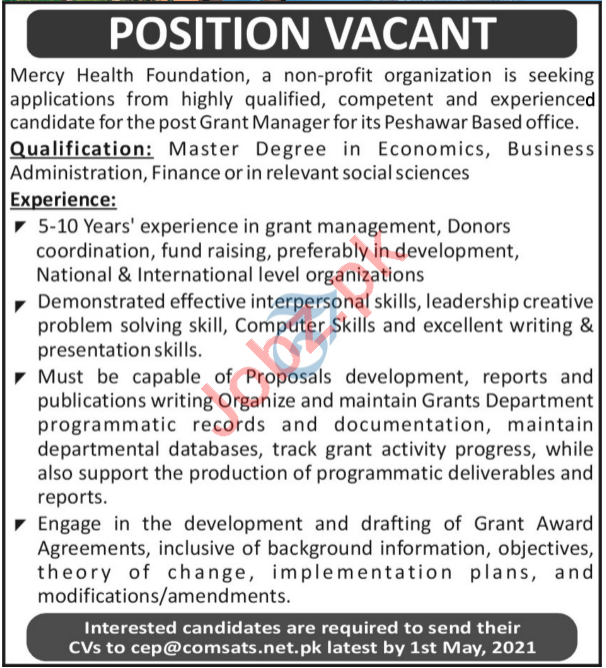 Mercy Health Foundation MHF Peshawar Jobs 2021 for Manager