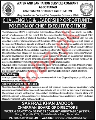 Water & Sanitation Services Company Abbottabad WSSCA Jobs