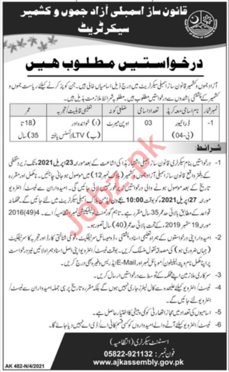 Azad Jammu & Kashmir Legislative Assembly Jobs 2021 Drivers