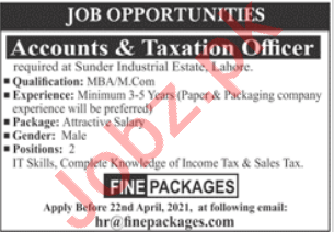 Fine Packages Lahore Jobs 2021 for Accounts Officer