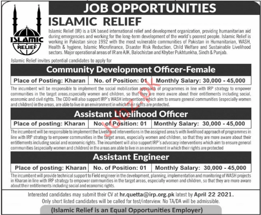 Islamic Relief IR Pakistan Jobs 2021 for Assistant Engineer