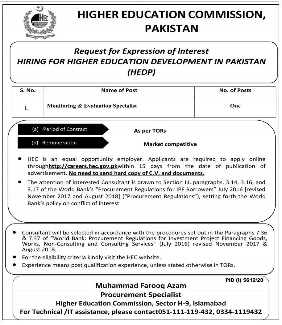 Higher Education Development in Pakistan HEDP Jobs 2021