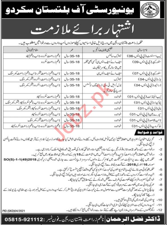University of Baltistan Skardu Jobs 2021 for Store Keeper