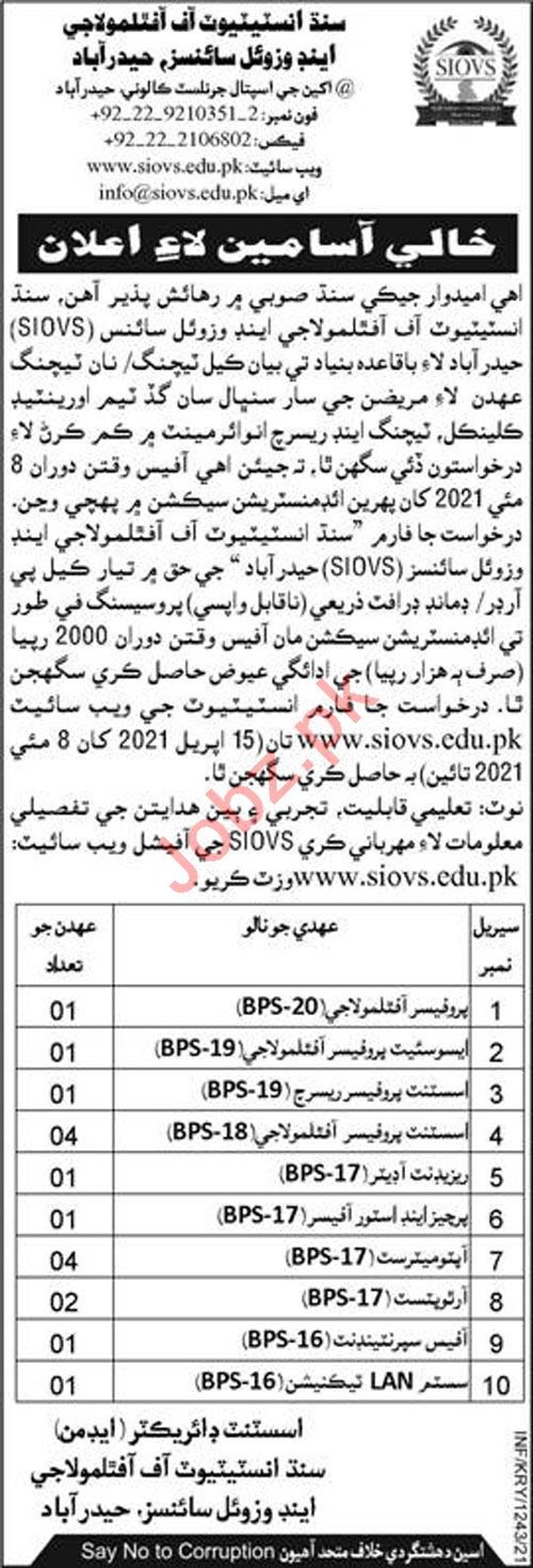 Sindh Institute of Ophthalmology & Visual Sciences Jobs 2021