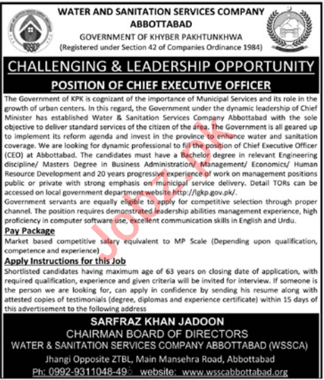 WSSCA Abbottabad Jobs 2021 for Chief Executive Officer & CEO
