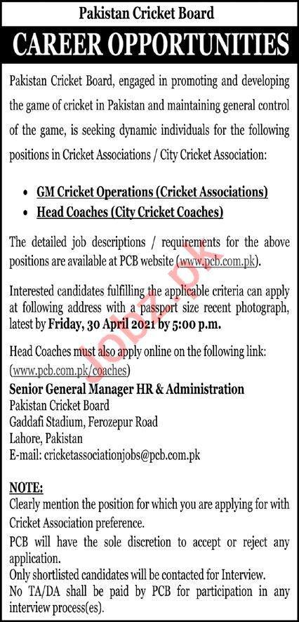 Pakistan Cricket Board PCB Lahore Jobs 2021 for Head Coach