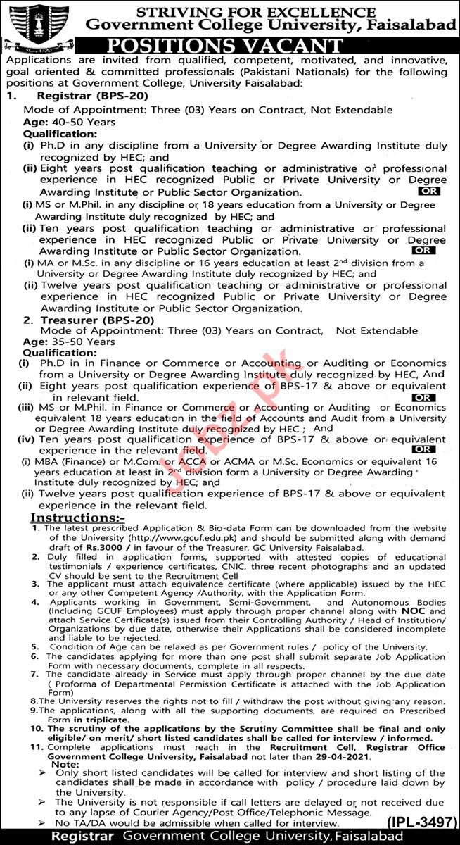 Government College University Faisalabad GCUF Jobs 2021