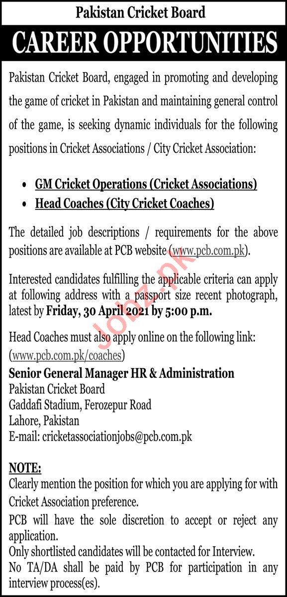 Pakistan Cricket Board PCB Jobs 2021 GM Cricket Operations