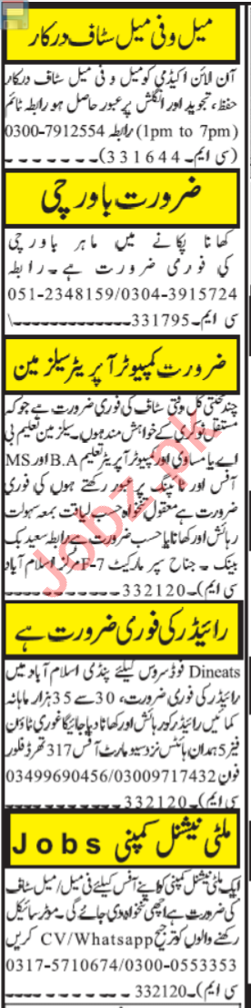 Quran Teacher & Computer Operator Jobs 2021 in Islamabad