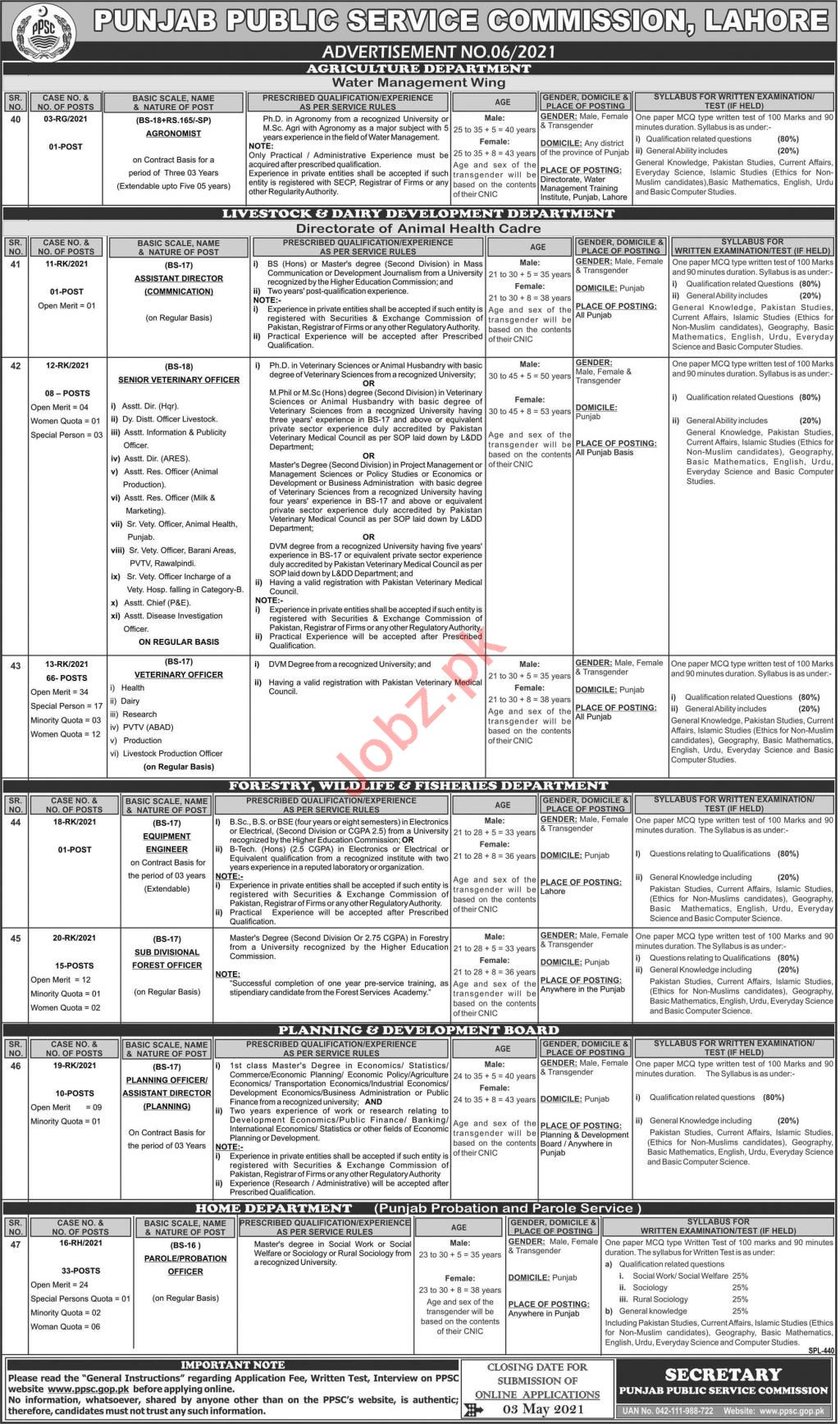 PPSC Jobs May 2021 for Veterinary Officer & Parole Officer