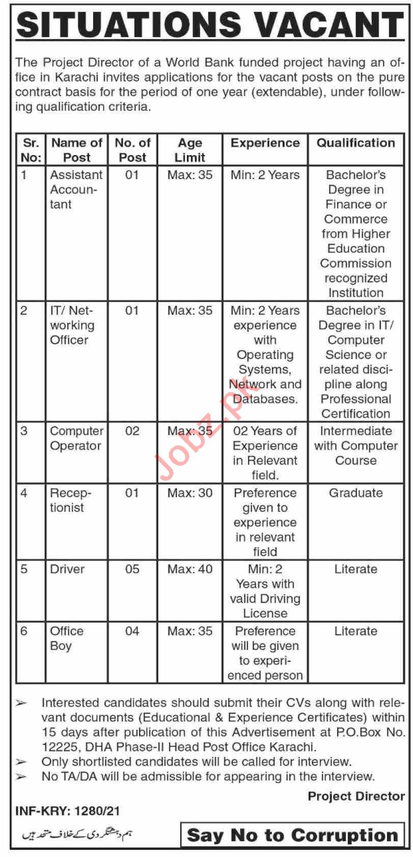 World Bank Funded Project Karachi Jobs 2021 for IT Officer