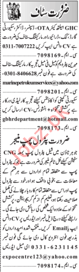 Petrol Pump Manager & Medical Officer Jobs 2021 in Lahore