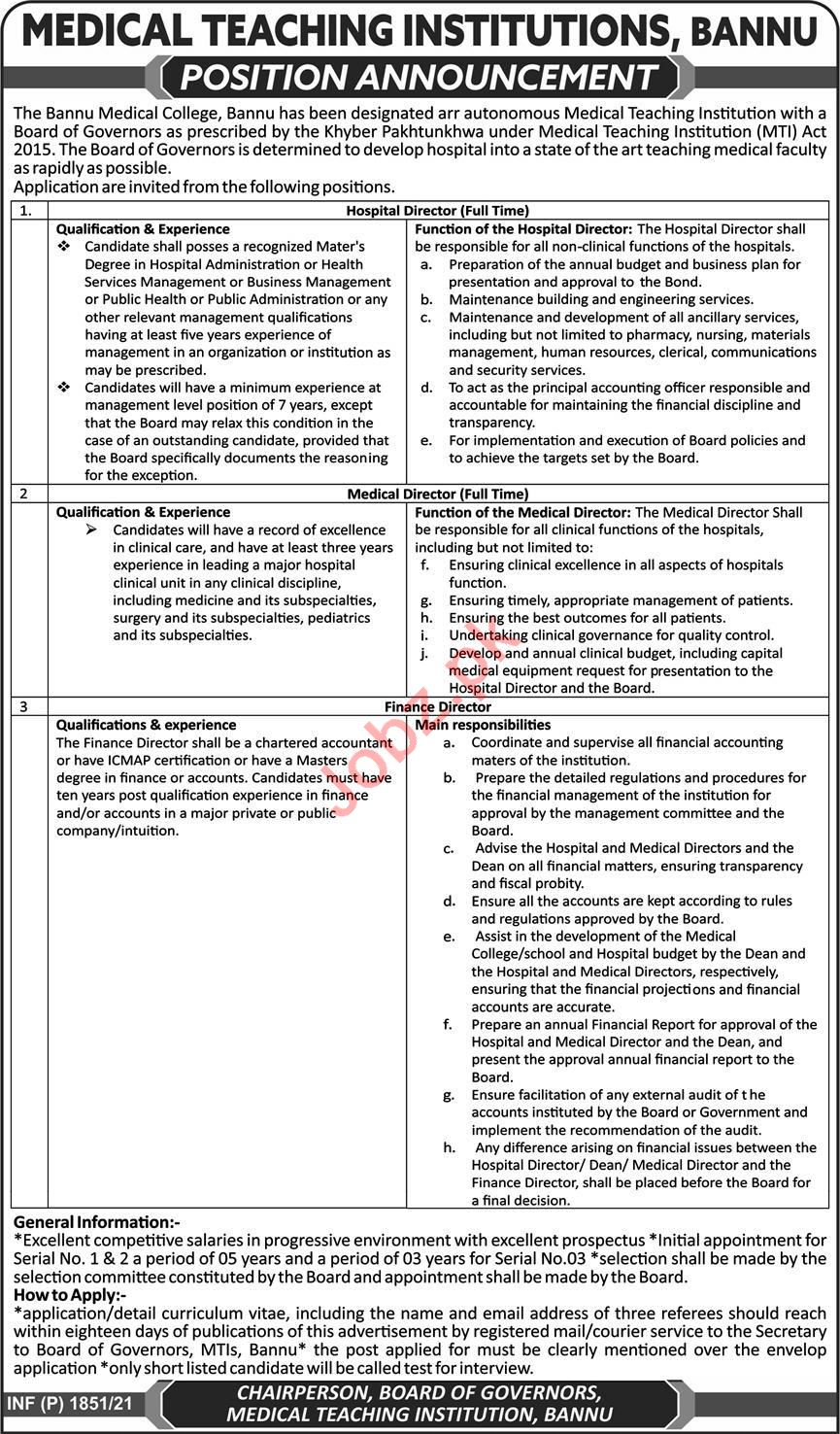 Bannu Medical College BMC MTI Jobs 2021 for Medical Director