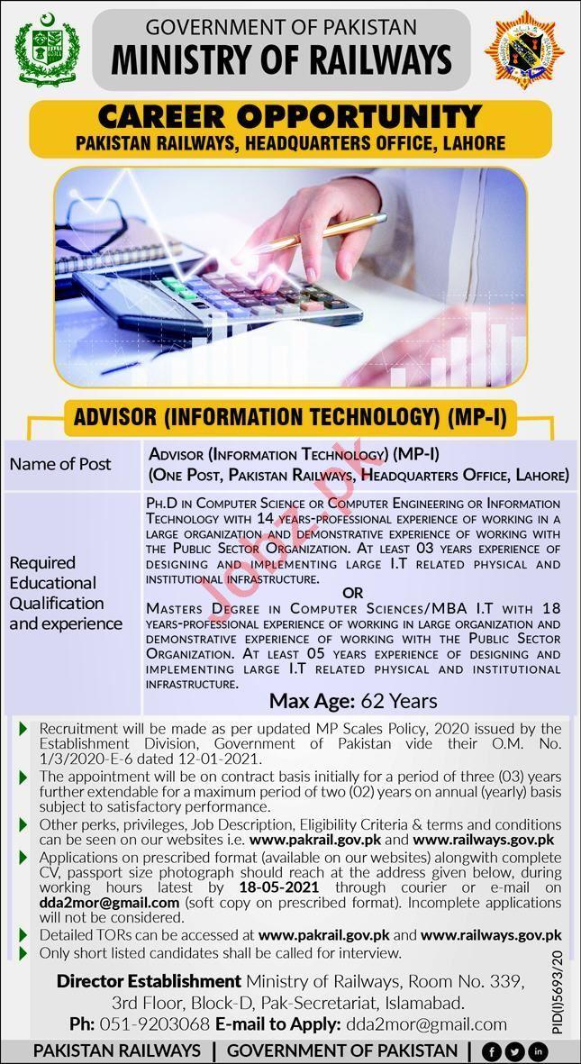 Ministry of Railways Jobs for Information Technology Advisor