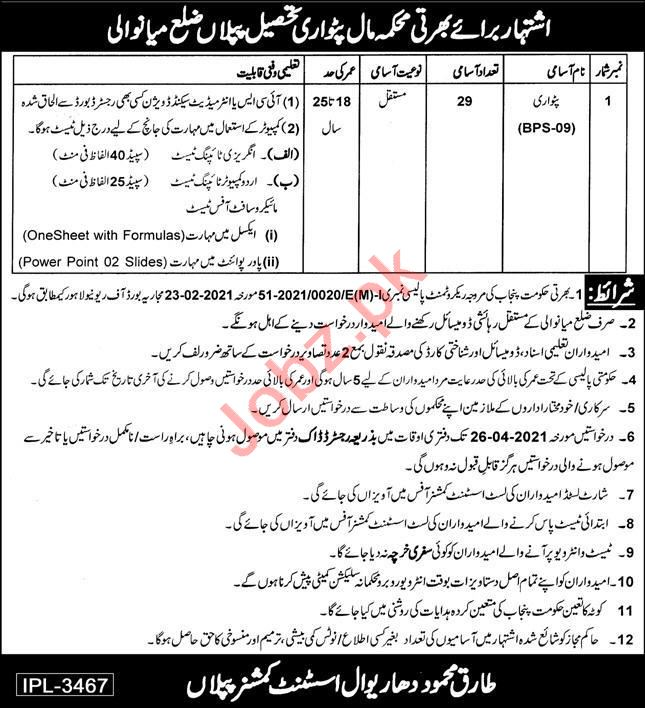 Assistant Commissioner AC Piplan Jobs 2021 for Patwari
