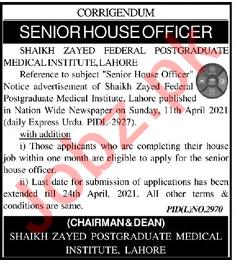 Shaikh Zayed Postgraduate Medical Institute Lahore Jobs 2021