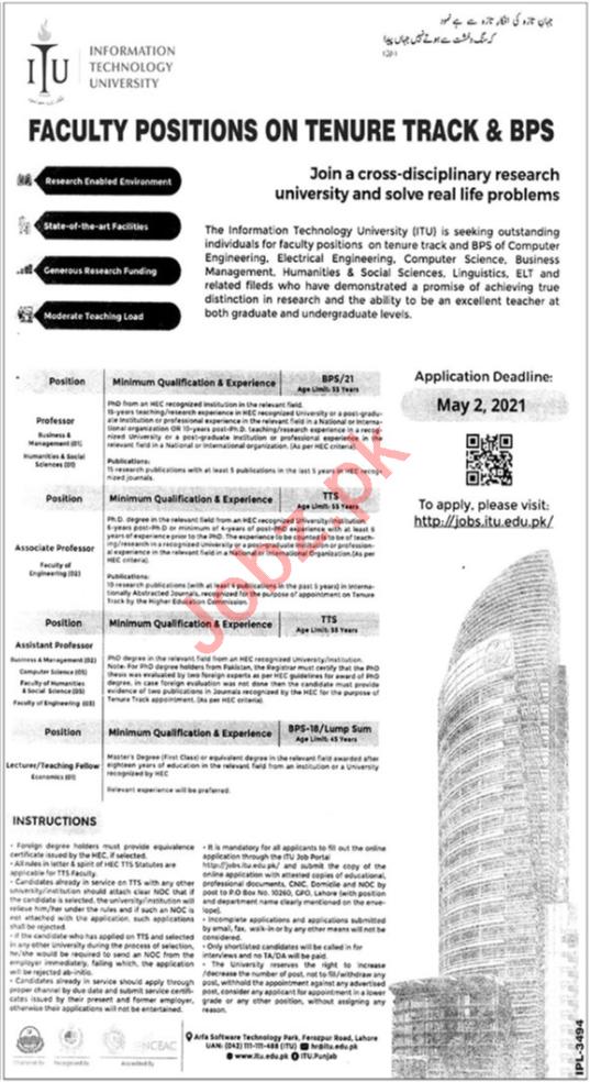 Information Technology University ITU Lahore Jobs 2021