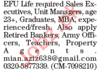Sales Executive & Unit Manager Jobs 2021 in Lahore