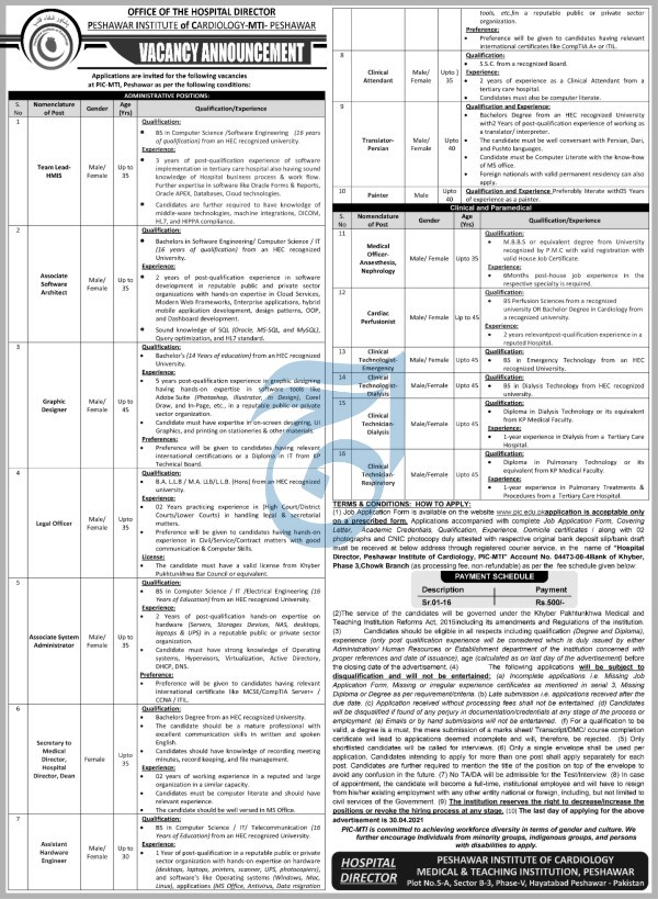 Peshwar Institute of Cardiology MTI Jobs 2021