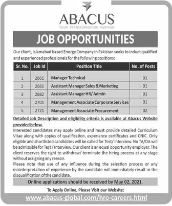 Abacus Global Jobs 2021 in Islamabad