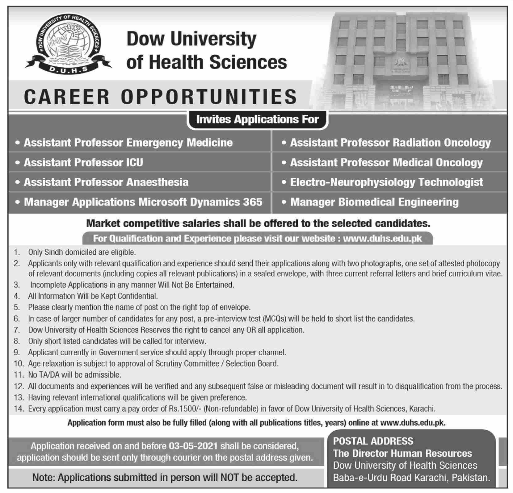 Dow University of Health Sciences Jobs 2021