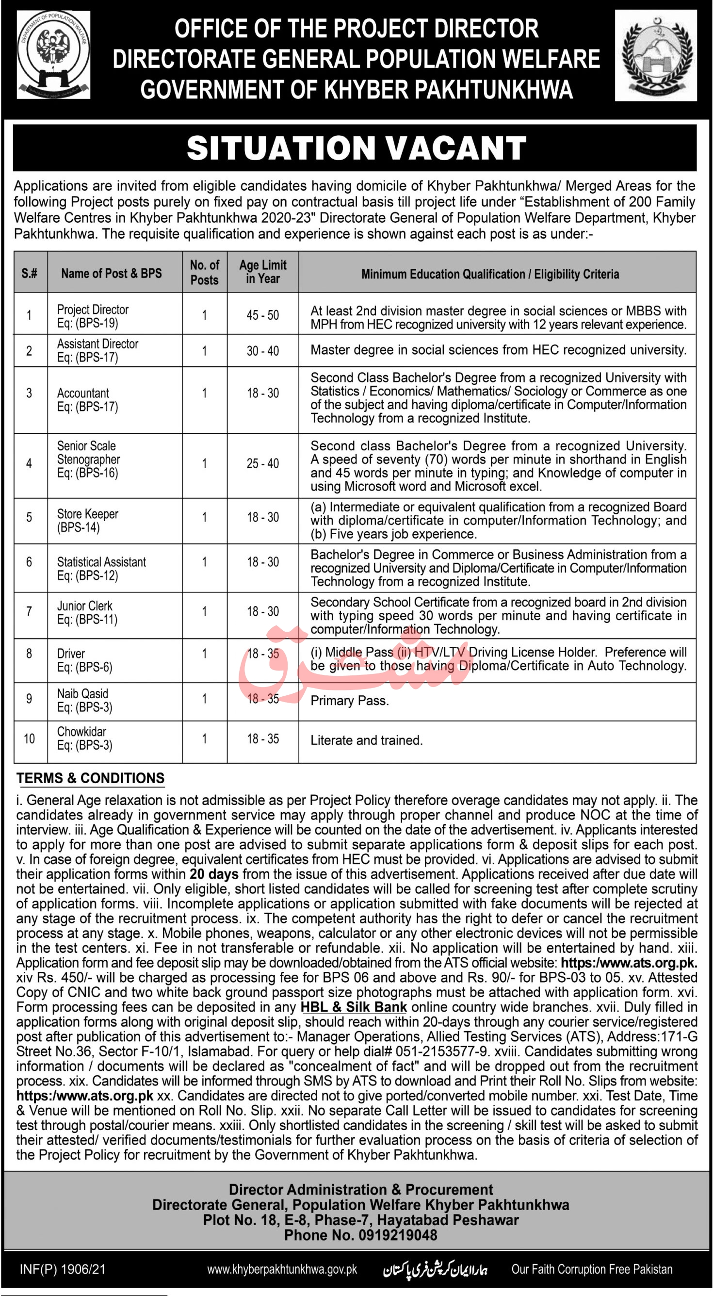 Directorate General Population Welfare KPK Jobs 2021