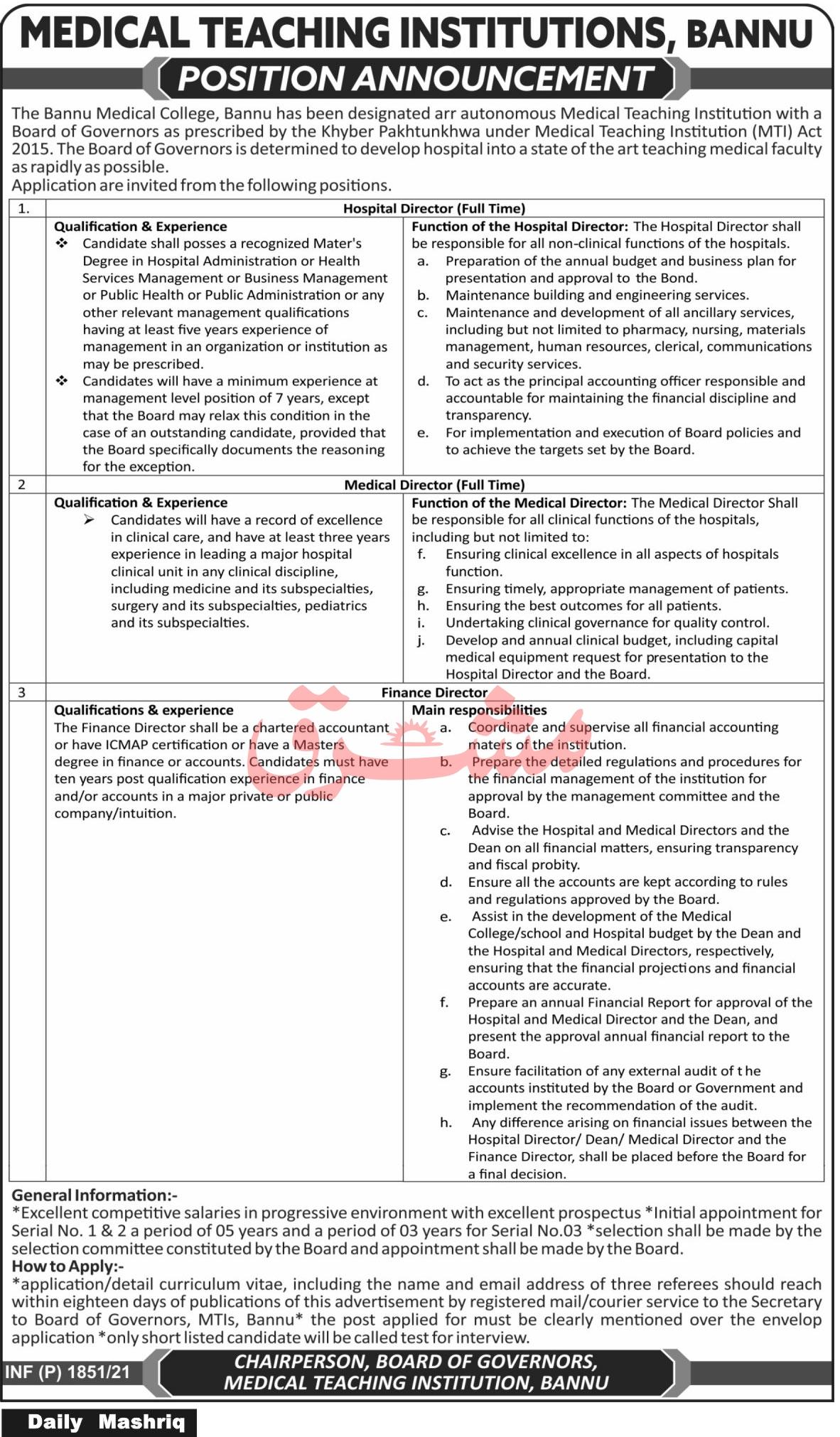 Medical Teaching Institution Bannu Jobs 2021