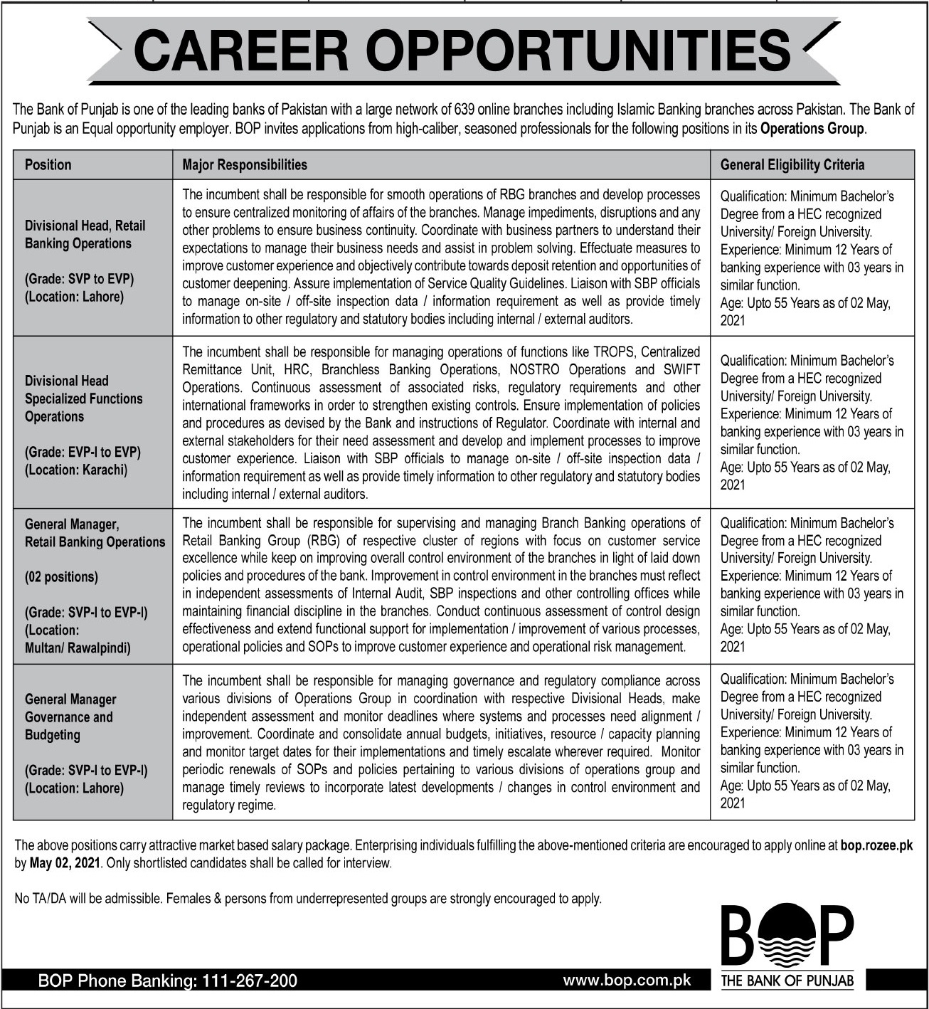 BOP Jobs 2021 For Operations Management Staff