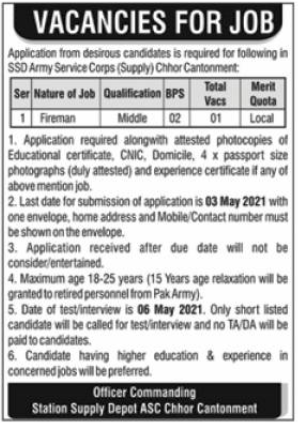 SSD Army Service Corps Supply Jobs 2021 in Sindh