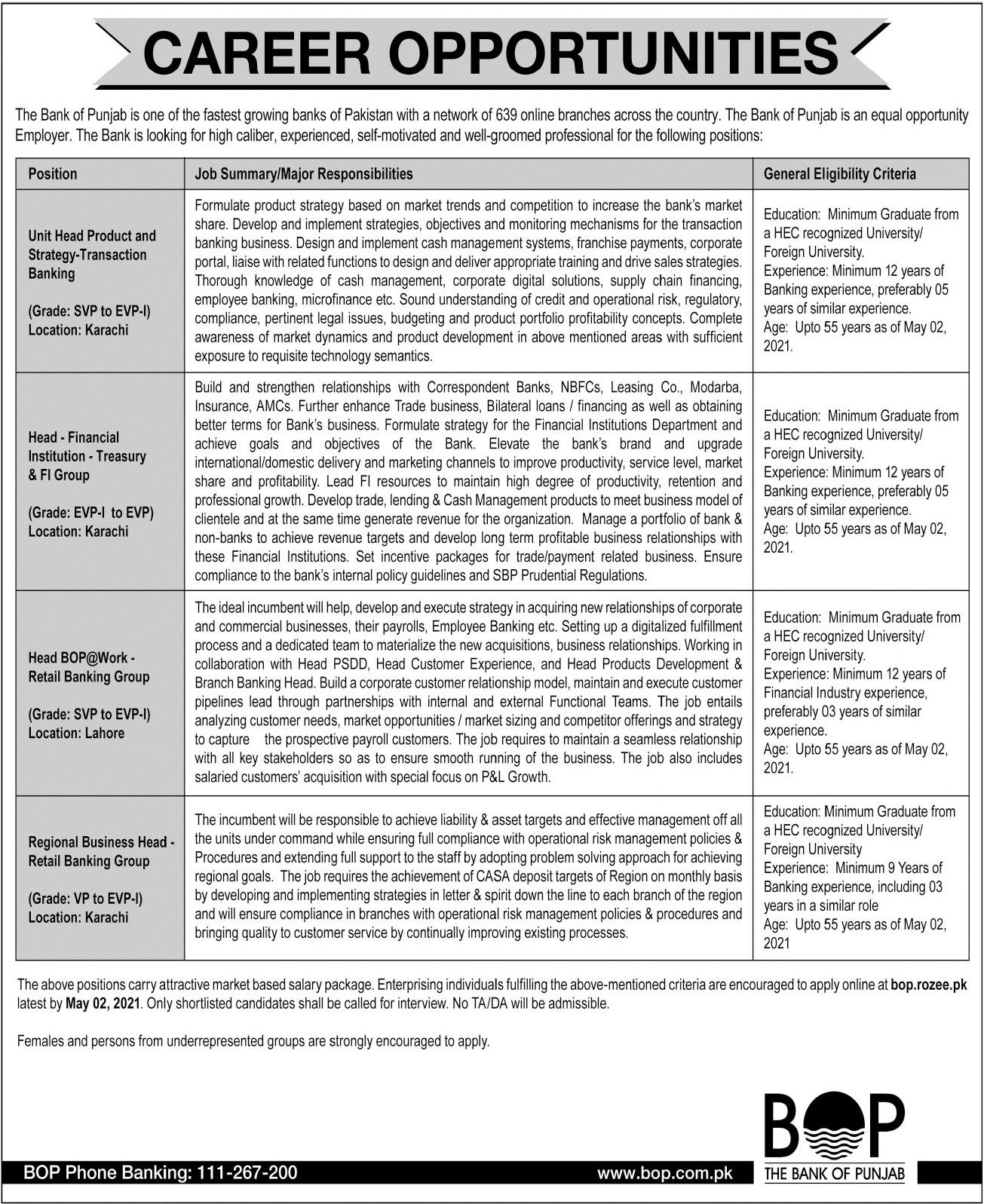 The Bank of Punjab BOP Jobs 2021 in Karachi & Lahore