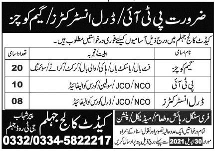 Pakistan Army Cadet College Jhelum Jobs 2021