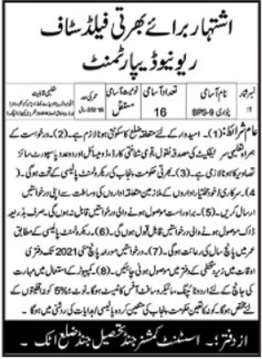 Revenue Department Jobs 2021 For Patwari in Attock