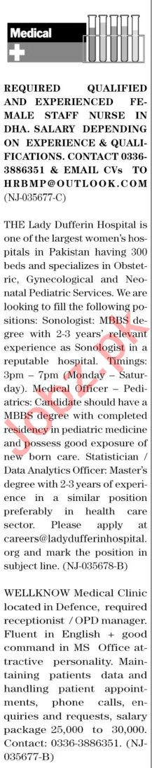 The News Sunday Classified Ads 18 April 2021 Medical Staff