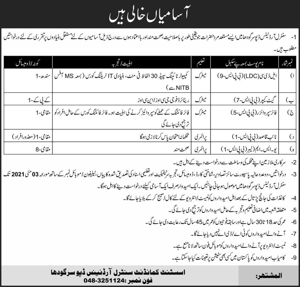 Pak Army Central Ordinance Depot Sargodha Jobs 2021