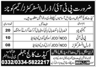 Cadet College Jhelum Jobs 2021