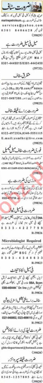 Nawaiwaqt Sunday Classified Ads 18 April 2021 Office Staff
