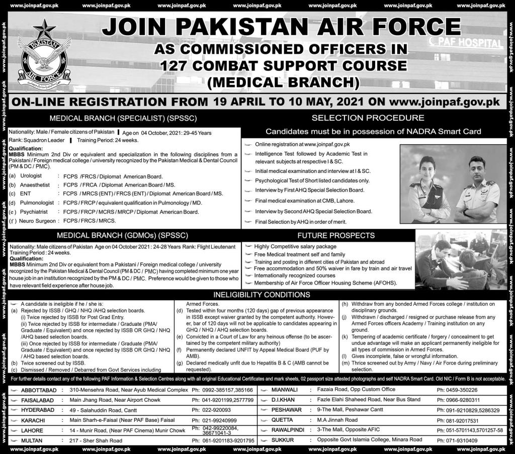 Pakistan Air Force PAF Jobs 2021 For Medical Specialist