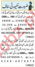 Nawaiwaqt Sunday Classified Ads 18 April 2021 Security Staff