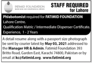 Fatimid Foundation Jobs 2021 in Lahore