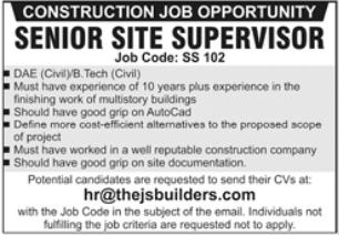 Construction Company Jobs 2021 in Lahore