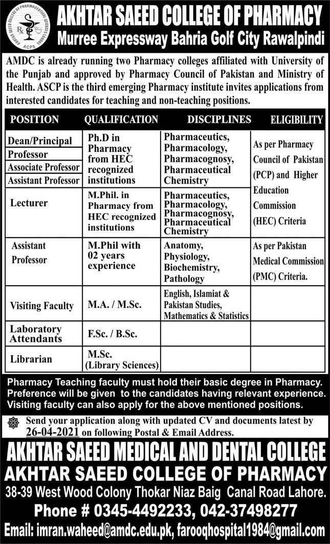 Akhtar Saeed College of Pharmacy Jobs 2021 in Rawalpindi