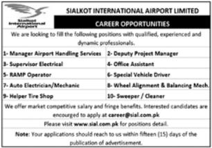 Sialkot International Airport Jobs 2021