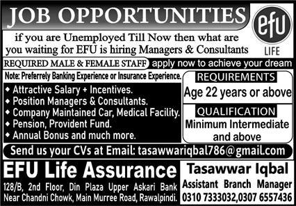 Efu Life Assurance Limited Jobs 2021 in Rawalpindi