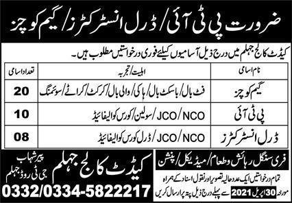 Pak Army Cadet College Jobs 2021 in Jhelum